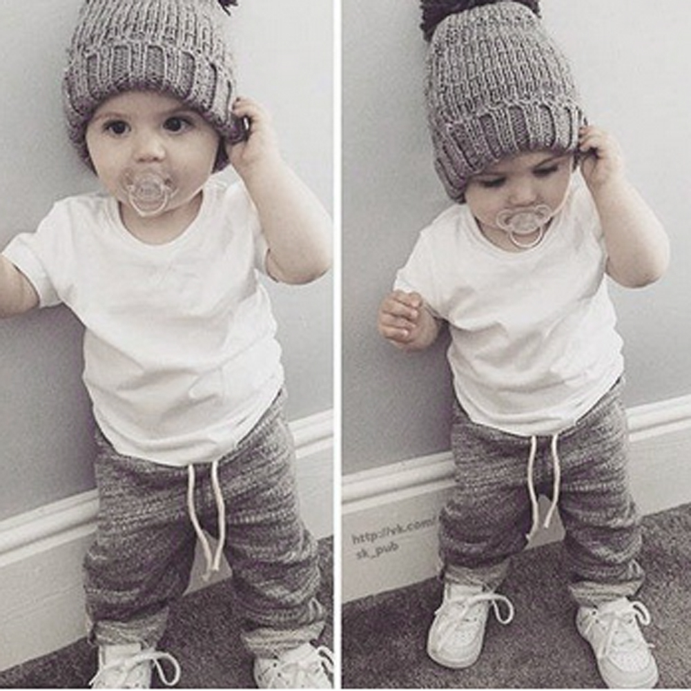 New Summer Baby Kids Toddlers Fashion Clothes Set Short Sleeve White T-shirt+ Gray Pants Trousers 2pcs Clothes Set For 0-24M 2pcs children outfit clothes kids baby girl off shoulder cotton ruffled sleeve tops striped t shirt blue denim jeans sunsuit set