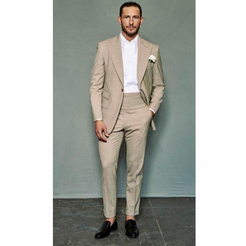 US $49 18 25% OFF|Men Tuxedos jacket With Pants Custom Homme Khaki Men  Dress Suit Slim Wedding Grooms mens suits Peak Lapel Jacket + Pants+Tie-in