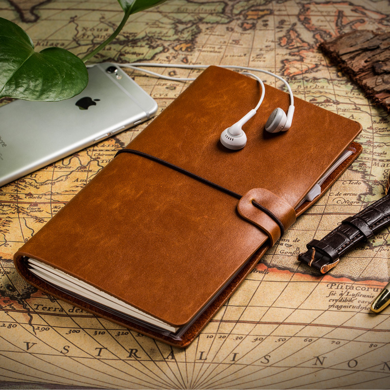 1PC 2017 Retro Travelers Kraft Paper Full Grain Notebook Daily Newspaper Planner Book Grain Leather