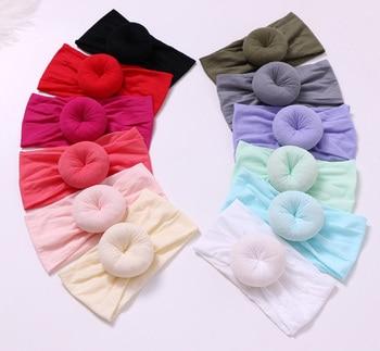 12 pcs/lot , Round Knot Nylon Head wrap, Wide Turban Headband Donut nylon headbands One size fits most women s fleece helmet hat one size fits most