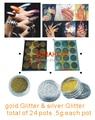 2018 2 sets gold & silver glitter dust Nail Acrylic Powder Dust Nail Art Tips Decoration,12 pots/set art sparkle