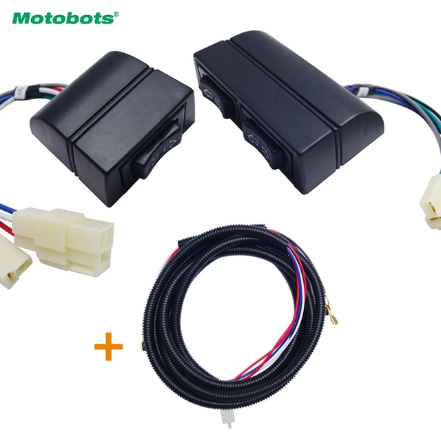 motobots 3pcs/set universal auto double arrow power window switch holder & wire  harness illumination