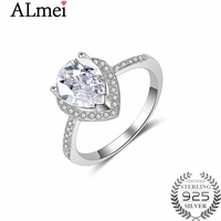 Almei White Blue Waterdrop Cubic Zirconia CZ Stone Wedding Rings 925 Sterling Silver Statement Fine Jewelry
