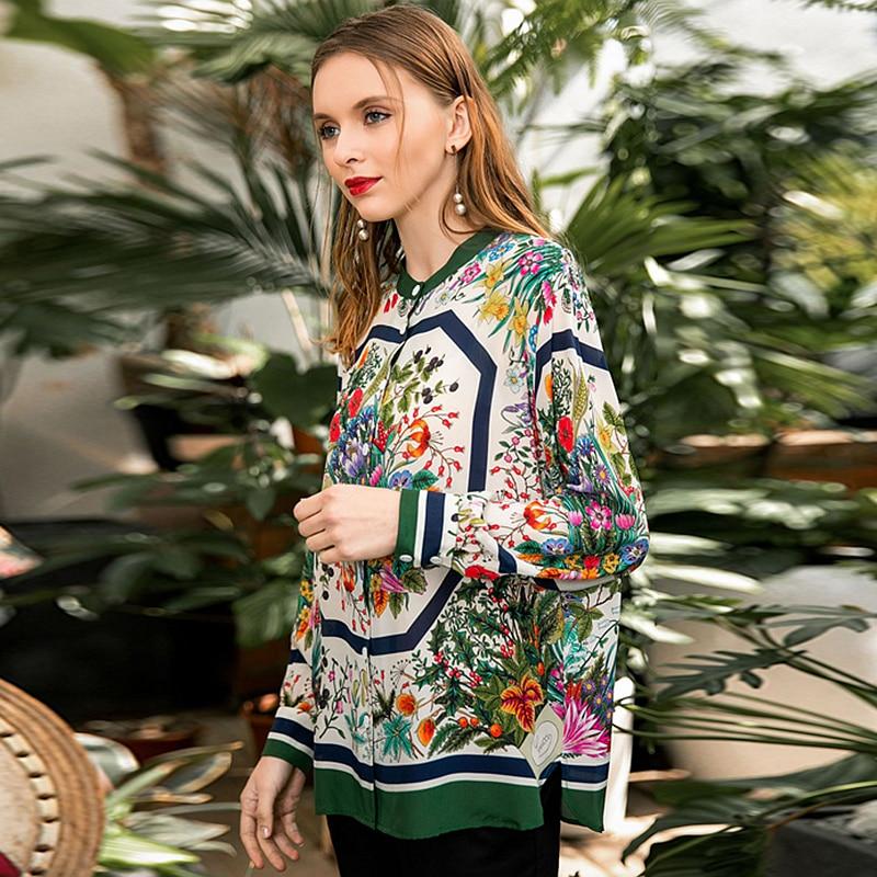 Высококачественная 100% Шелковая женская блузка из легкой ткани с круглым вырезом и длинными рукавами, топы больших размеров, элегантный стиль, новая мода 2019 - 3