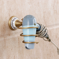 AUSWIND Antique bronze hair dryer holder Completely Copper Blue and white porcelain base wall mount Hair Dryer Holder