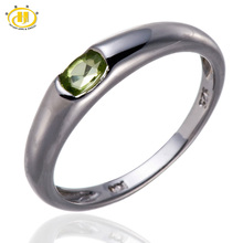 Hutang 100% Natural Peridot Gemstone Ring Genuine 925 Sterling Silver Jewelry Band Tail Rings