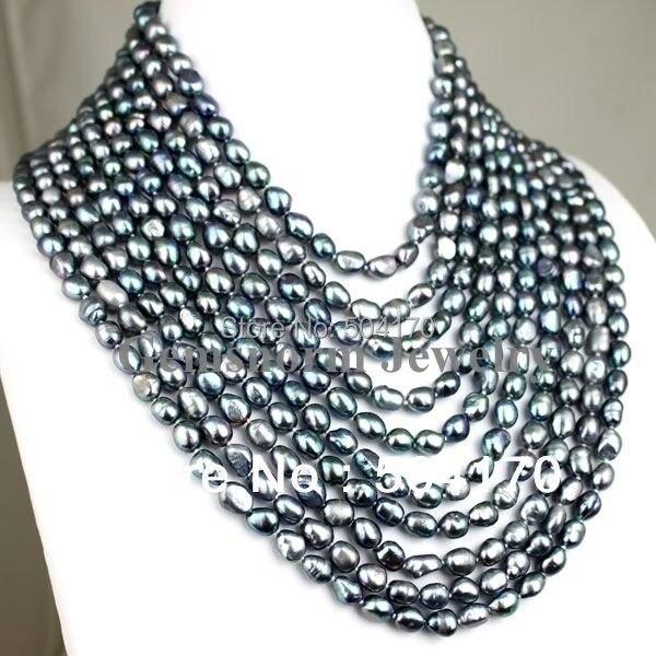 """Высокое качество FPN0139 17-2"""" 10 строк Черный барокко жемчужное ожерелье"""