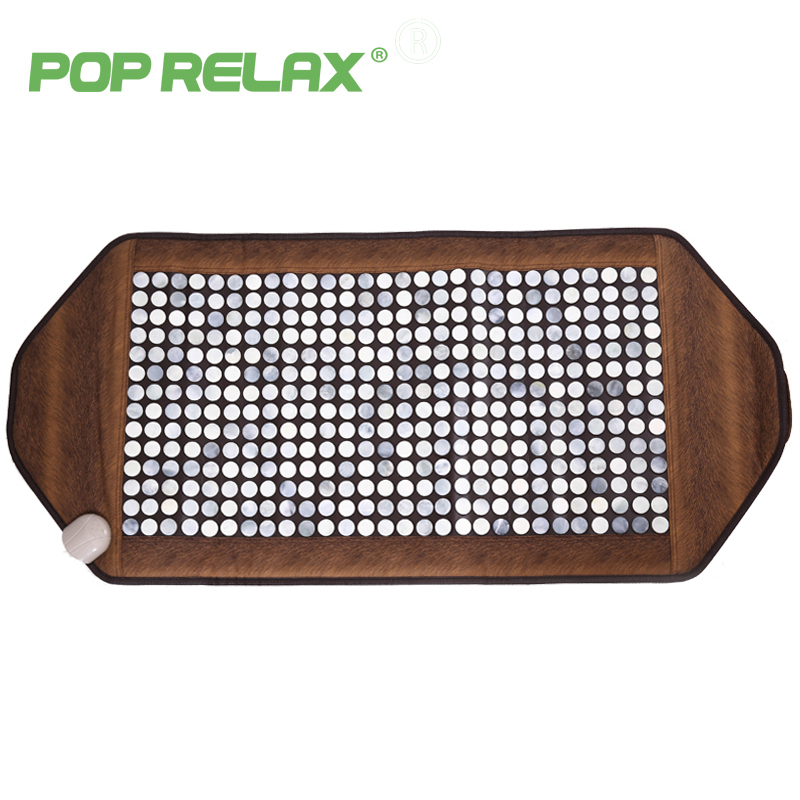 POPRELAX natural jade massage mat mattress cushion heating therapy health care germanium tourmaline massage pad gua sha 55120  2016 natural heating germanium thermal massage cushion massage mattress health care 3 size for you choice