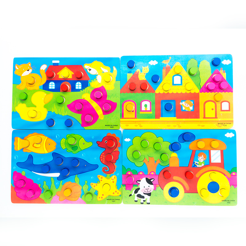US $3.48 14% OFF|1 Set Kids 3D Wooden Puzzle Toys for Children Montessori  Color Learning Educational Cartoon Toddler Games Gifts Boys Girls Games-in  ...