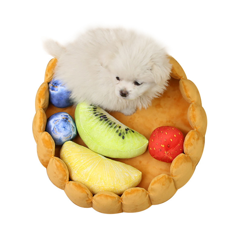 Pet House Plush Cat Dog Fruit Pad Puppy Nest Kennel Winter Warm Creative Pet Pad Dual-use Chew Toy Fruit Mat Soft Tart Bed