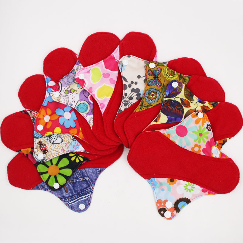 reusable cloth pads for special days red micro fleece inner menstrual pad with wings 4 size