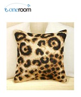Oneroom CX0214 Leopard DIY Acrylic Yarn Embroidery Pillow Tapestry Canvas Cushion Front Cross Stitch Pillowcase