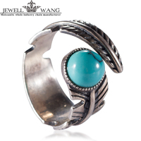 JEWELLWANG Vintage 925 Sterling Silver Jewelry Natural Turquoise Rings For Women Genuine Retro Leaf Special Flexible