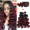 10A Burgundy Ombre Hair with Closure Malaysian Virgin Hair Body Wave with Closure 1b 99j Ombre Human Hair Bundles with Closure