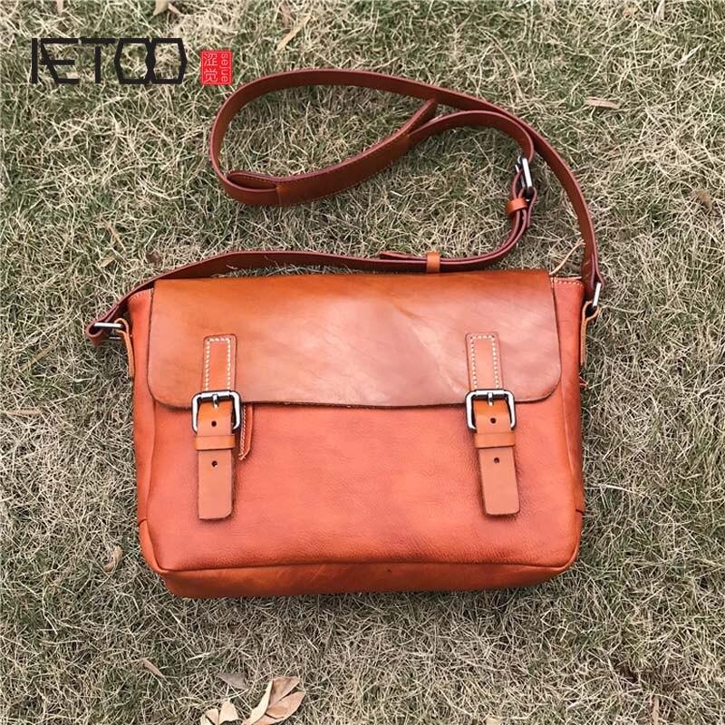 AETOO Large leather handbag vegetable tanned rub color retro tree cream leather soft tote