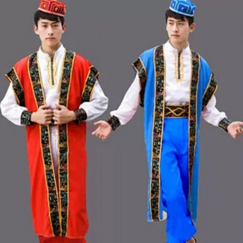 chinese minority costumes for men national clothing Sinkiang clothes festival dance suit for men Uyghur cosplay
