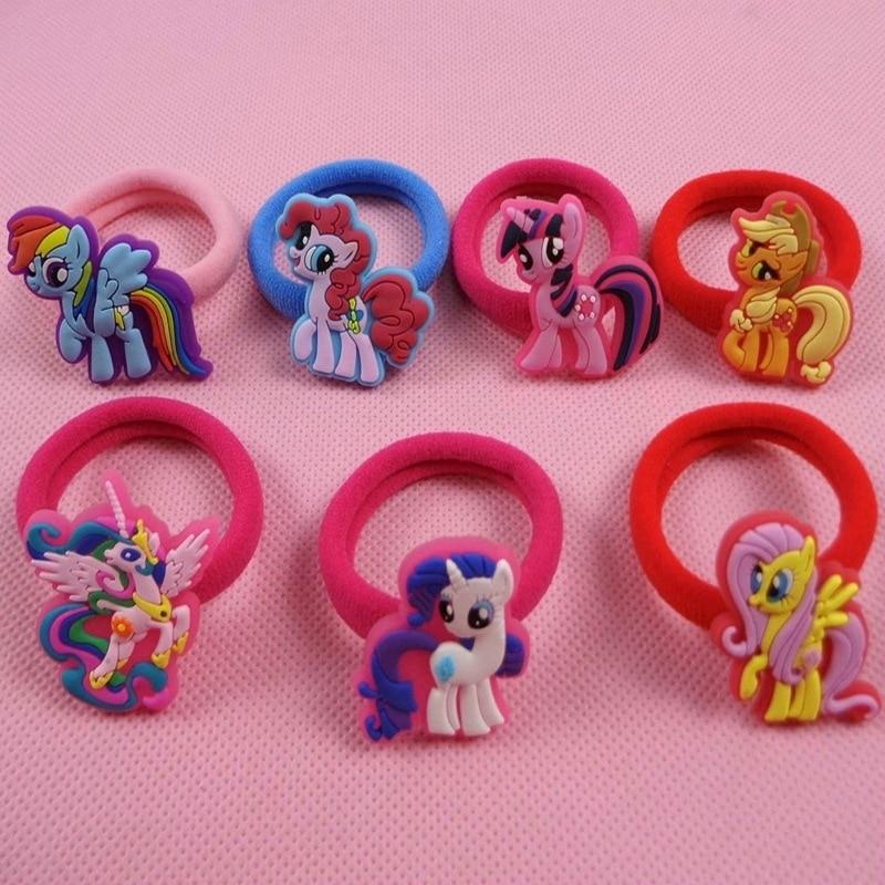 7pcs/lot New Hot Fashion Cute Horse Headwear with Elastic Hair Bands Hair Rings Ties in Girls Kids Cartoon Hair Accessories