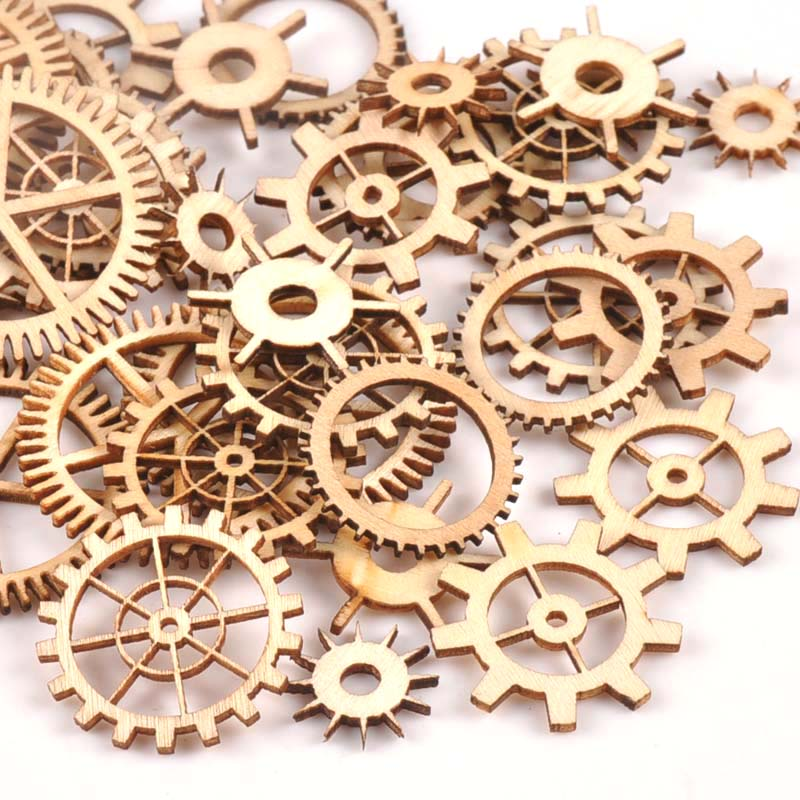 20-40mm 36pcs Unfinished Wood Craft Gear Wheel Scrapbooking DIY For Handmade Home Decor Mix Natural Wooden Embellishments M1653