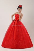 z 2016 new stock plus size women bridal gown wedding dress red big bow long backless simple chinese princess 233