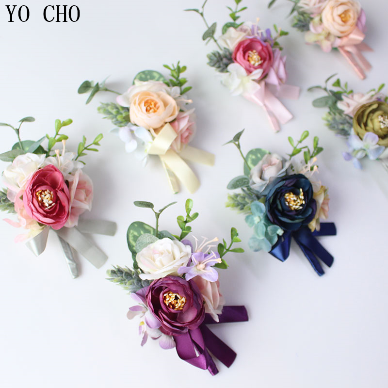 YO CHO Wedding Boutonniere Bride Wrist Corsage Artificial Rose Flower Groom Brooch Pins Wedding Meeting Party Personal Decor