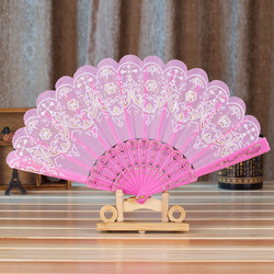 Hot Sale Folding Hand Held Fan Chinese Spanish Style Dance Wedding Party Lace Silk Folding Hand Held Fan Decoration Gifts C411