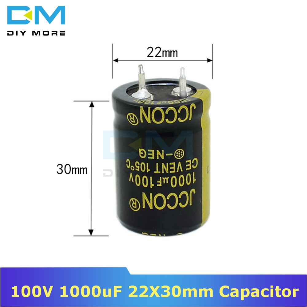 100V 1000uF 22X30mm 25X30 Aluminum Electrolytic Capacitor High Frequency Low Impedance Through Hole Capacitor 25*30mm Diymore