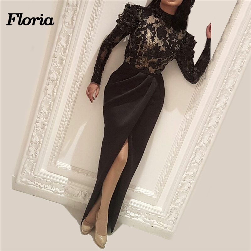 African Black Mermaid vening Dresses Arabic Dubai Muslim Formal Prom Dress For Weddings Turkish Kaftans Long Sleeve Ankle Gowns Платье