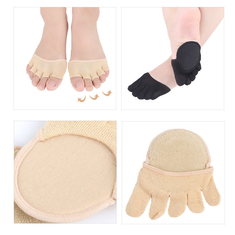 2Pcs=1Pair Half Yard Cushion Pads Insoles For Shoes Forefoot Massage Metatarsal Toe Separators Insoles Hallux Valgus Corrector