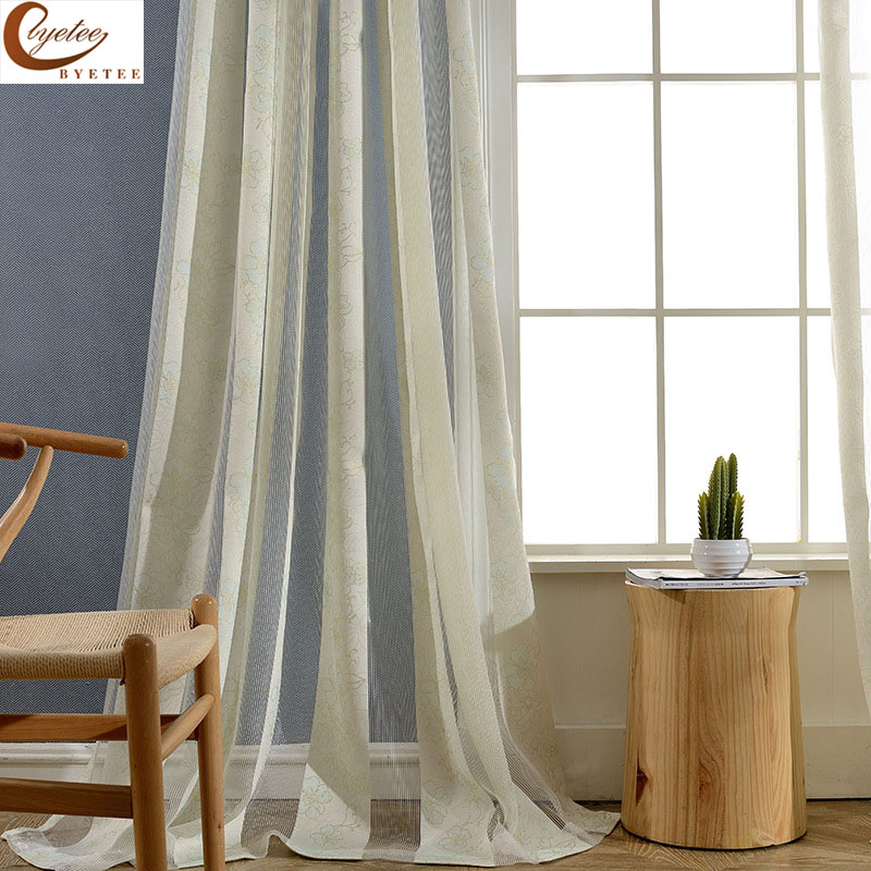 Byetee Modern Living Room Luxury Window Curtains Striped: [byetee] Modern Chinese Voile For Living Room Bedroom