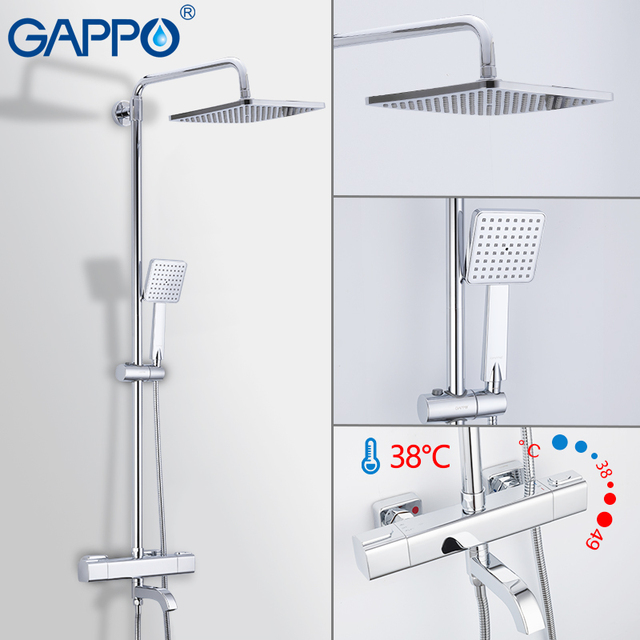 GAPPO Thermostatic shower faucet bathroom cold hot water  faucets rotatable lifting type brass rainfall shower mixers