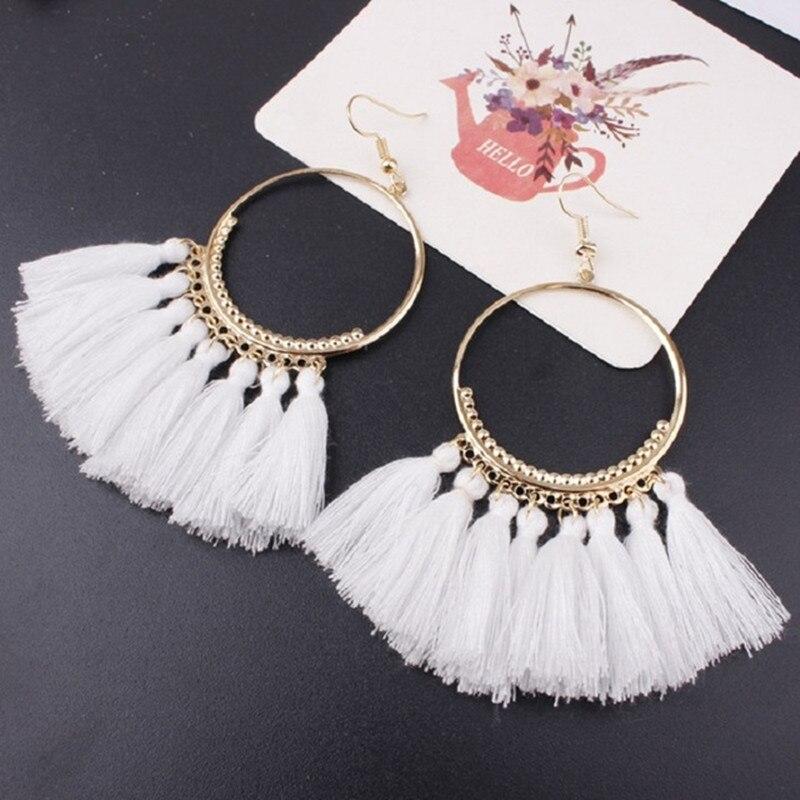 17 couleurs Gland boucles d'oreilles pour femmes Ethnique Big boucles d'oreilles pendantes Bohême bijoux tendance À La Mode Coton Corde Frange Longue Balancent
