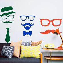 Art design cheap home decoration vinyl humorous mustache wall sticker waterproof PVC house decor cartoon beard decal in bar shop