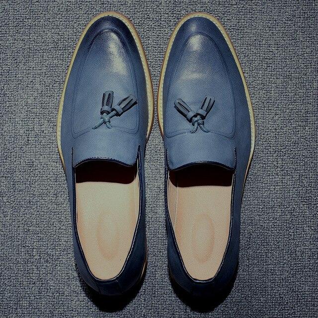 2016 Hombres Mocasines de Cuero Genuino Los Zapatos Ocasionales Planos de Los Hombres de Oxford Zapatos Para Hombres Zapatos de Conducción