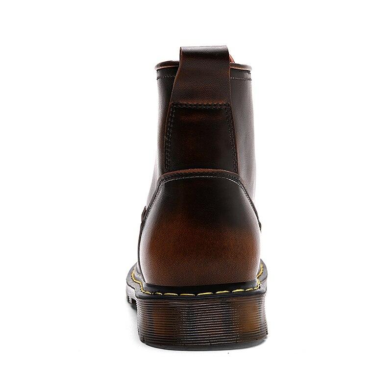 LanLoJer haute qualité en cuir véritable automne hommes bottes hiver bottes imperméables Mart bottes de travail en plein air bottes hommes chaussures - 4
