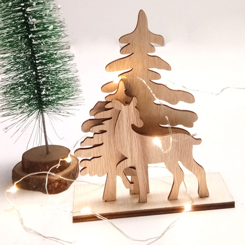 1Set Creative Christmas Tree Deer DIY Wooden Crafts Decoration Ornament Xmas Home Party Supplies