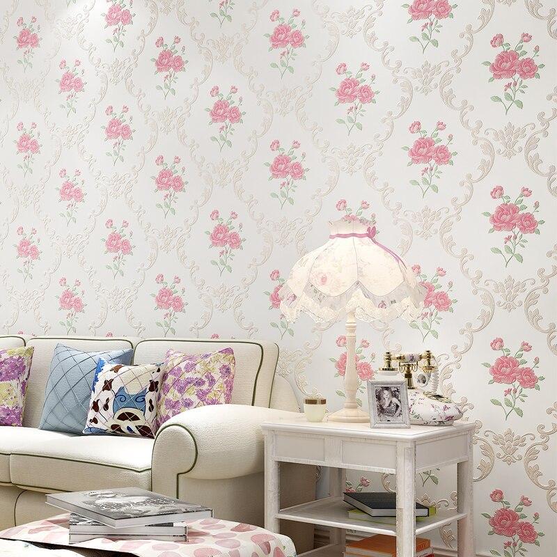 Купить с кэшбэком Warm Garden Flowers 3D Wallpaper Precision Embossed Background Non-woven Wall Paper Living Room Bedroom