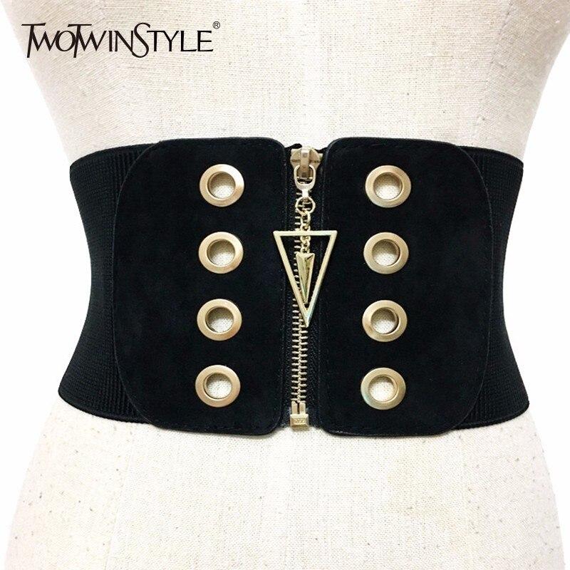 TWOTWINSTYLE Wide Belt For Women Elastic Zipper Patchwork High Waist Slim Belts Spring Fashion 2020 Female Cummerbund