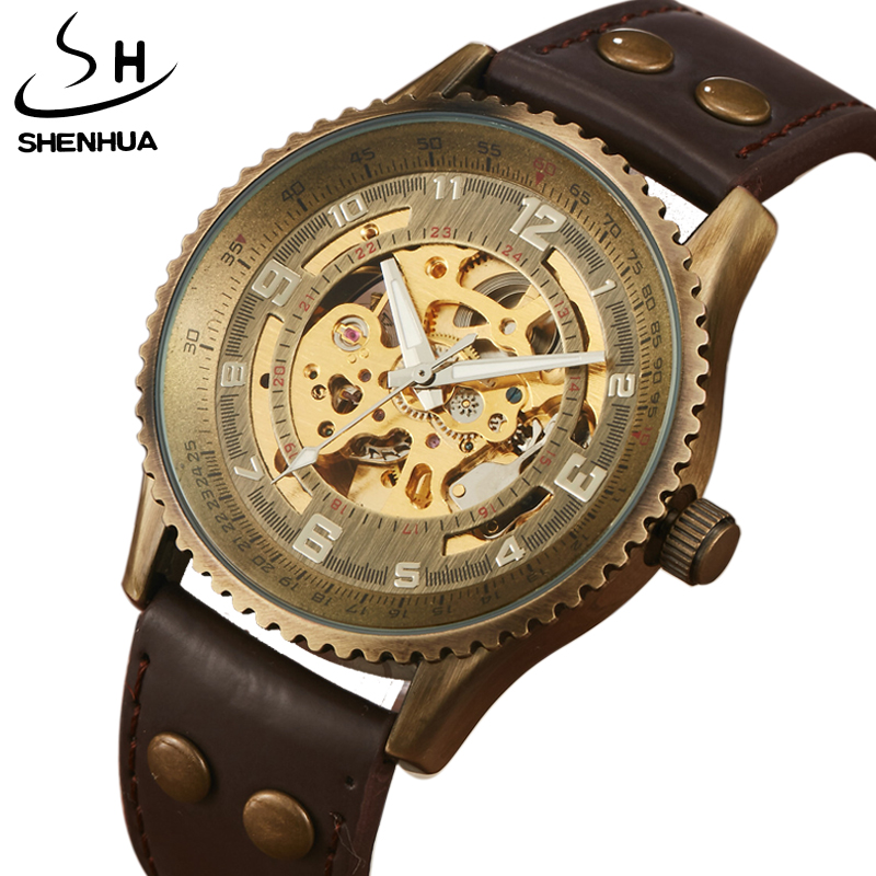 Hot Sale SHENHUA Antique Automatic Mechanical Watches Leather Band Steampunk Retro Bronze Sculpture Skeleton Dial Men Watch Gift antique retro bronze car truck pattern quartz pocket watch necklace pendant gift with chain for men and women gift