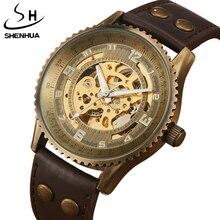 Venta caliente Antigua Banda de Cuero Relojes Mecánicos Automáticos SHENHUA Steampunk Retro de Bronce Escultura Esqueleto Hombres Del Dial Del Reloj de Regalo
