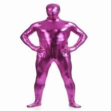 (MZS020) Rose Purple Shiny Metallic Tights for classic halloween costumes Unisex original Fetish Zentai Suits