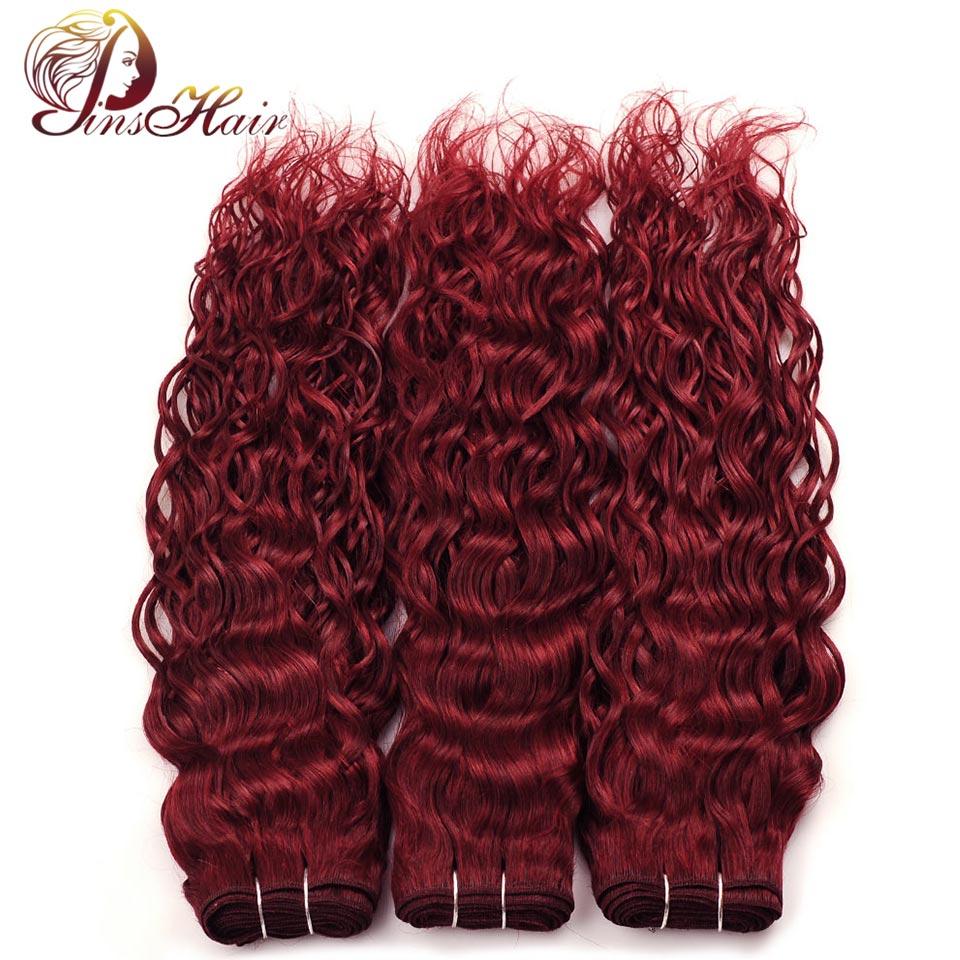 Pinshair бордовый Связки волна воды волос 3 шт. индийский предварительно Цветной человека Химическое наращивание волос смелый красный 99j мокрые... ...