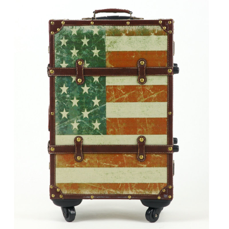 Fashion vintage luggage trolley luggage Stars and Stripes travel bag box 20 22 24 universal wheels,euro fashion retro luggage