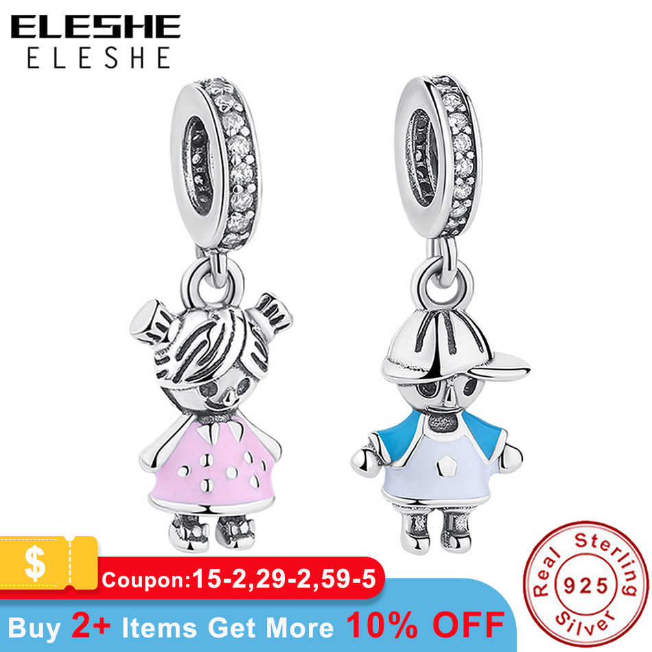 ELES mesmos 2019 novo 100% 925 Prata Esterlina Casal Little girl & Boy Dangle charme Fit Pandora Charm Bracelet PINGENTE diy jóias