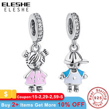 ELESHE 2019 New 100% 925 Sterling Silver Couple Little Girl & Boy Dangle Charm fit Pandora Charm Bracelet Pendant DIY Jewelry(China)