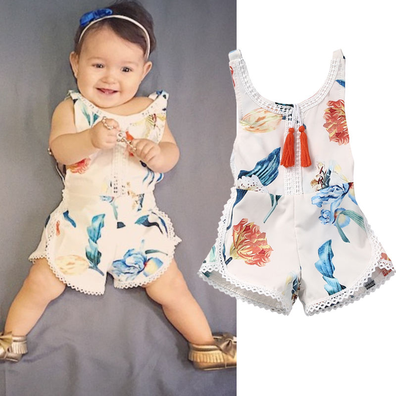 Cute Floral Infant Baby Girl Kids Clothes Cotton   Romper   Sleeveless Flower Jumpsuit Playsuit Outfit Clothing Baby Girls
