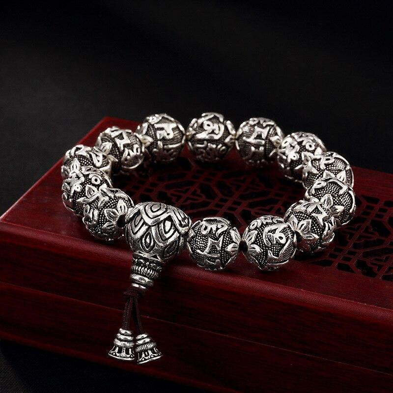 100%Real 990 Silver Buddhist Bracelet Mens Mantra Lotus Beads Carved Six Words Om Mani Padme Hum For Tibetan Prayer Elastic Rope