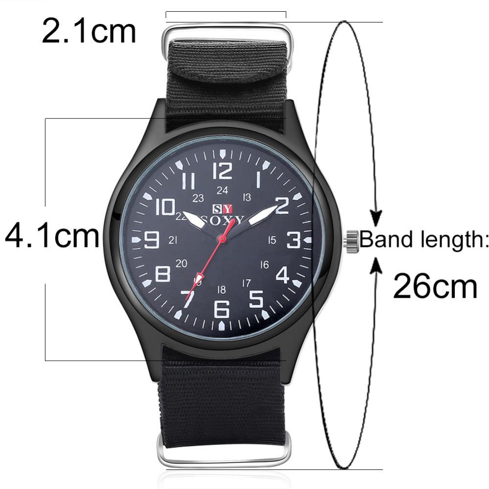 แฟชั่นไนล่อนนาฬิกาผู้ชายยี่ห้อใหม่SOXYกีฬาของผู้ชายควอตซ์ข้อมือทหารบางนาฬิกาอนาล็อกผู้ชา... 3