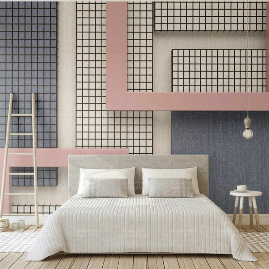 Free Shipping 3d Pink and Blue Wallpaper Geometric Pattern Black White  Checkered Color Bedroom Wallpaper Kitchen Custom Mural