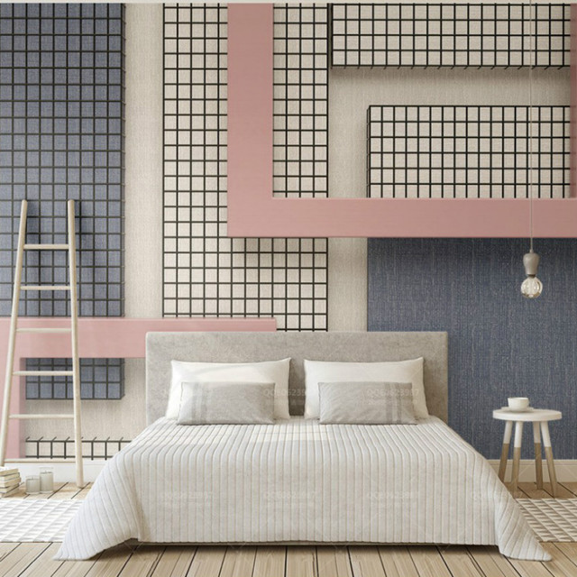 Free Shipping 3d Pink and Blue Wallpaper Geometric Pattern Black ...