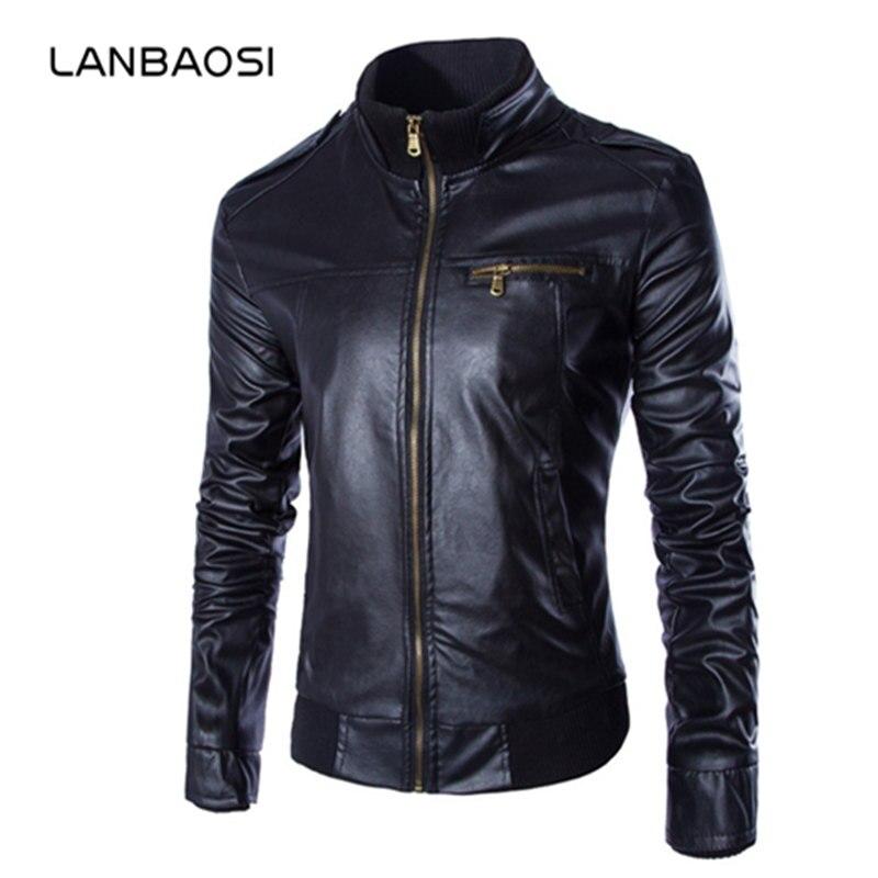 LANBAOSI Brand Mens Solid Rib Bottom Leather Jacket Pockets Stand Collar Slim Male Coats Jaqueta De Couro Masculina Men PU Jackt